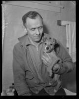 Portrait of John W. Hoffman with a dog, [La Crescenta?], circa 1935