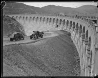 Barrier construction at Mulholland Dam, Hollywood, 1933