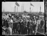 Harry A. Hollzer and colleagues on a ship, circa 1926
