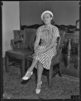 Eleanor Holm in court chamber, 1933-1937