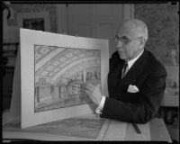 Pioneer Designer John B. Holtzclaw explaining new drawings, Los Angeles, 1935