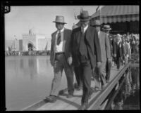 Herbert Hoover leaving Pacific Southwest Exposition, Long Beach, 1928