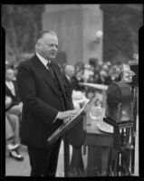 Herbert Hoover delivers speech at Morris Dam dedication, Pasadena, 1934