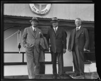 Herbert Hoover with Williits J. Hole and William L. Honnold before fishing trip, Long Beach, 1933