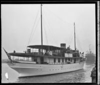 Samona II, yacht on which ex-President Herbert Hoover set sail on fishing trip, Long Beach, 1933