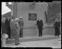 President Herbert Hoover at Morris Dam dedication, Pasadena, 1934