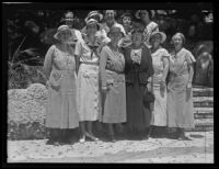 Girl Scout committee members Lucy Guild, Carmelita Rosecrans, Doris Toney, Catherine Lane, Mrs. R.C. Griffith, Blanche Gray, Mildred Mudd, Kate Crutcher, Olivia Redwine, and Mrs. W.C. Goddard meet Lou Henry Hoover, San Pedro, 1934