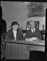Mrs. Herbert Hoover and Dr. W. O. Mendenhall at executive board meeting, Whittier College, 1935