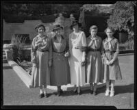 Mildred Mudd, Betty Hersey, and Pauline Wright at reception honoring Lou Henry Hoover, Los Angeles, 1934