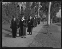 Dr. Walter F. Dexter and Lou Henry Hoover at Whittier College commencement, Whittier, 1933