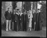 Lou Henry Hoover, Dr. Walter Dexter, Mrs. Dexter, and Allan Hoover at Whittier College commencement, Whittier, 1933
