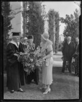 Mrs. Herbert Hoover with Whittier College President, Dr. Walter F. Dexter, and his wife, Whittier, 1933