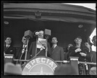 Herbert Hoover delivers speech from train, Los Angeles, ca. 1928