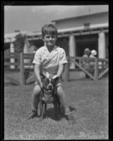 Herbert Hoover III with family pet at 8 years old, Pasadena, 1935