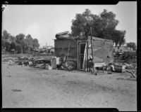 Squatter's home in Hooverville, Los Angeles, circa 1940