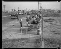 Officials order destruction of Hooverville, Los Angeles, circa 1940