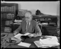 County assesor Hopkins in his office, Los Angeles
