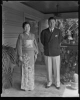 Consul-General for Japan, Tomokazu Hori, and wife, Taeko [Florence Taye] Hori, Los Angeles, 1934