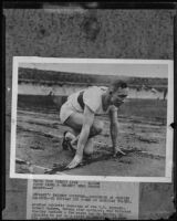 Photograph and clipping of German athlete Hubert Houben, [rephotographed]