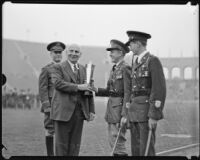 Governor Frank Merriam presents an award to members of the R.O.T.C., Los Angeles, 1934
