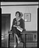 Actress Rochelle Hudson is granted approval of her motion picture contract, Los Angeles, 1933