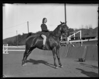 Actress Rochelle Hudson on horseback, Los Angeles, 1931