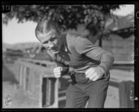 Boxer Ace Hudkins posing, 1927