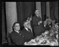 Rupert Hughes at Los Angeles Bar Association Meeting with officers, Los Angeles, 1935