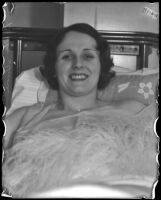 Actress Benita Hume recovering from appendix surgery, Los Angeles, 1933