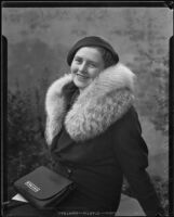 Portrait of Dorothy Chamberlin Hurtt wearing a fur-colloared coat, Los Angeles, 1936
