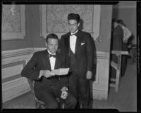 Robert Maynard Hutchins and Donald Fareed dressed in formal wear, Los Angeles, circa 1935