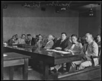 Councilman Carl I. Jacobson with counsel during his trial, Los Angeles, 1927