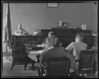 District Attorney Keyes testifying in the trial against Councilman Carl I. Jacobson, Los Angeles, 1927