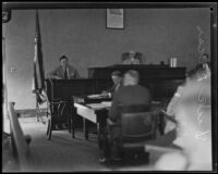 Detective Dick Lucas testifying in the trial against Councilman Carl I. Jacobson, Los Angeles, 1927