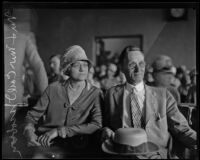 Councilman Carl I. Jacobson with wife, Rose, during his trial, Los Angeles, 1927