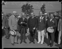 Vice-President Curtis and Assistant Secretary of Navy Jahncke being received for the Olympic Games, Los Angeles, 1932