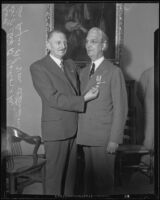 Dr. Felix B. Janovsky presenting Dr. Rufus B. von KleinSmid with the Order of the White Lion, Los Angeles, 1932