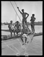 Frank Jansen teaches sailing to his wife, Verna Mae Allen, and USC students, Los Angeles, 1931