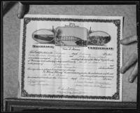 """Marriage certificate of Helen Gloria Albert and """"Prince"""" Mischale Kildischeff, Los Angeles, 1935"""