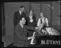 Dr. Otto Klemperer with high school contest winners Stella Mark, Miriam Edwards, and Hans Neutzel, Los Angeles, 1934