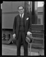 Otto Klemperer, Austrian conductor, arriving, Los Angeles, 1933