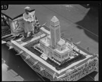 Chinese float with cake replica of City Hall at dedication parade, Los Angeles, 1928