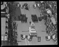 Los Angeles Fire Department float featuring a replica of the city hall during dedication, Los Angeles, 1928