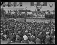 Crowds gather to watch City Hall dedication ceremony, Los Angeles, 1928