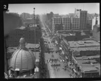 City Hall dedication parade marches along Broadway, Los Angeles, 1928