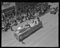 Anaheim represented by an Aladdin lamp float at the City Hall Dedication, Los Angeles, 1928