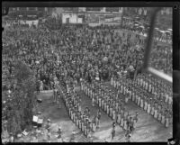 Marching band at City Hall dedication ceremony, Los Angeles, 1928