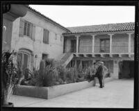 Courtyard of Harry Chandler's C + M Ranch, Baja California, Mexico