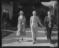 Upton Sinclair, his wife and unidentified acquaintance, Santa Barbara, 1935