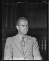 Los Angeles Times correspondent and Pomona college press agent Dick Nimmons, Los Angeles, 1935